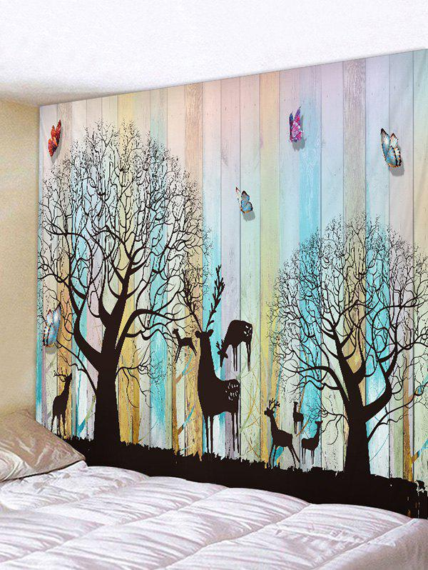Hot Wooden Board Tree Animals Print Tapestry Wall Hanging Art Decoration