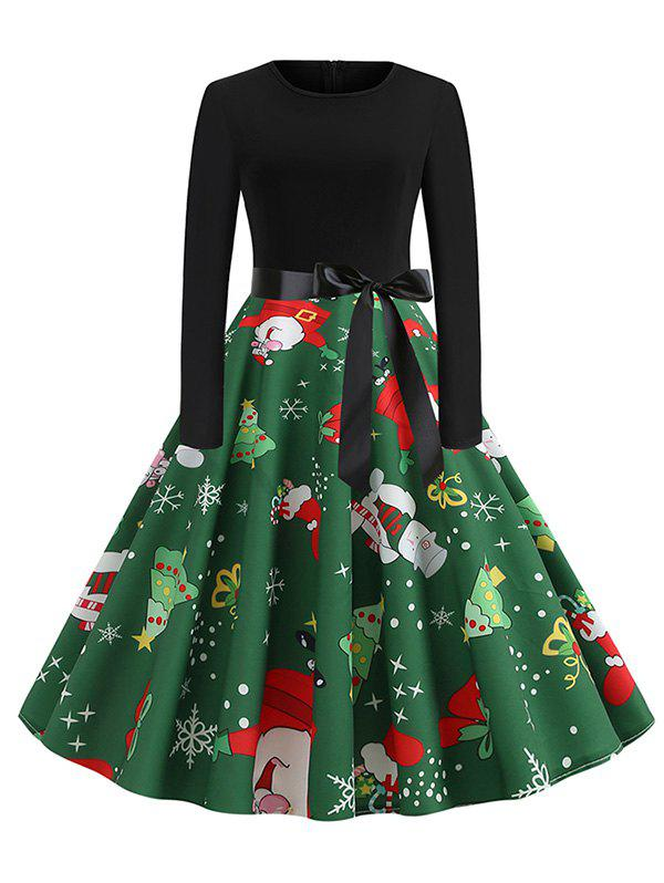 Outfit Santa Claus Snowman Christmas Belted Long Sleeves Dress
