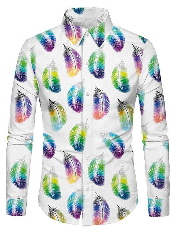 Store Casual Feather Print Long Sleeves Shirt
