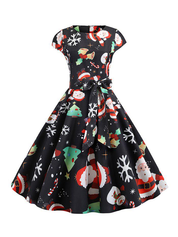 Online Santa Claus Snowman Belted Christmas Cap Sleeves Dress