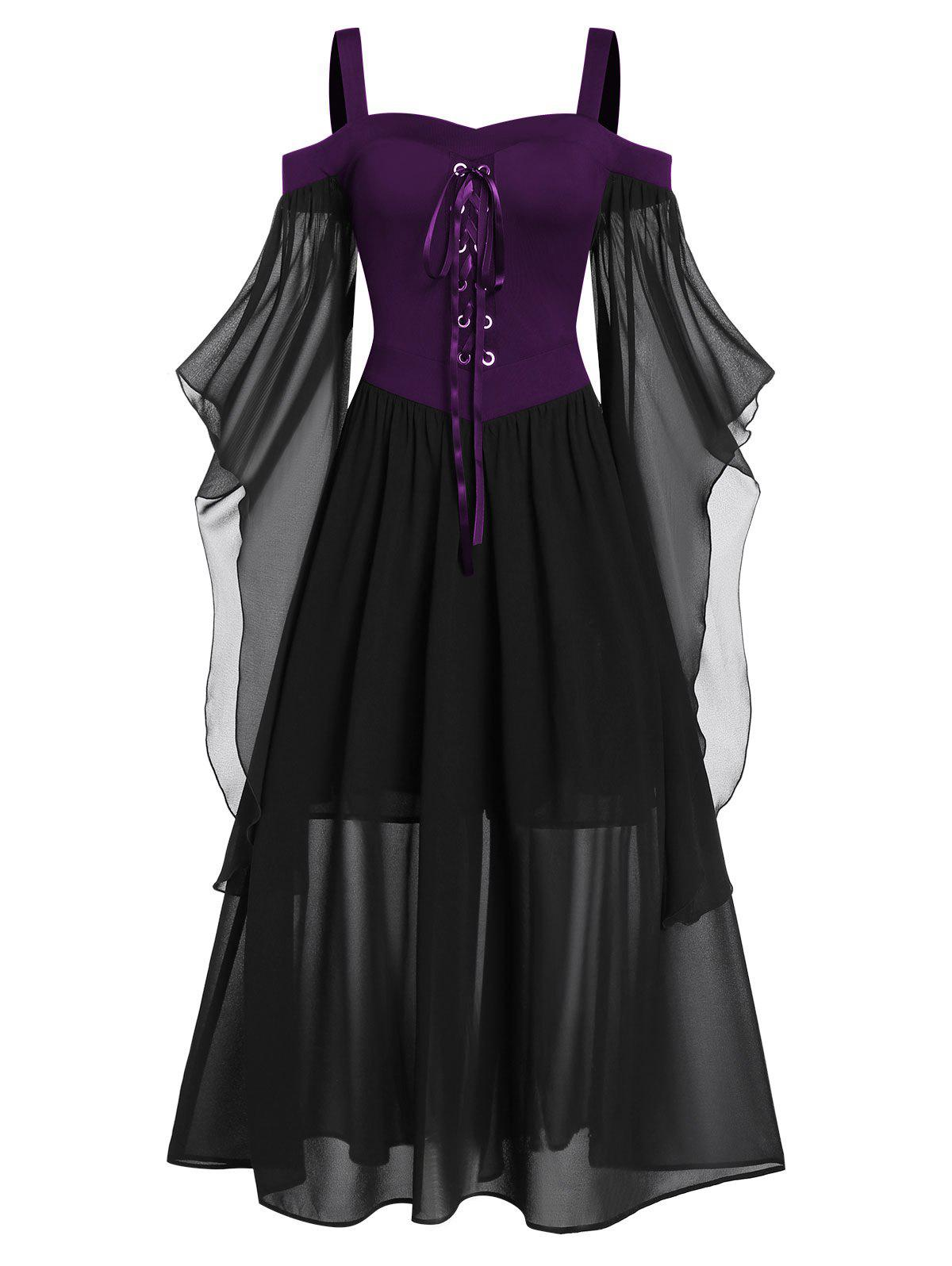 Trendy Plus Size Butterfly Sleeve Lace Up Gothic Halloween Dress