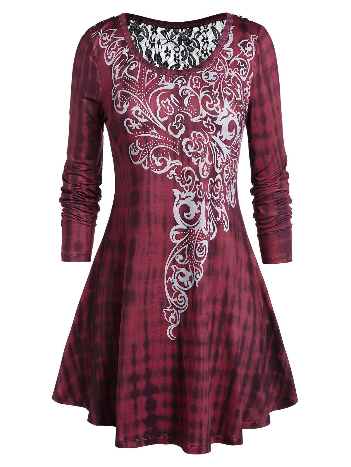 Plus Size Tie Dye Ethnic Print Tunic T-shirt, Red wine