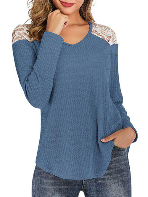 Chic Lace Panel Curved Hem Round Neck Tee