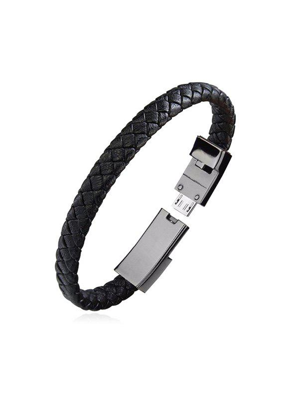 New PU Leather Braided Bracelet Charging Data Cable