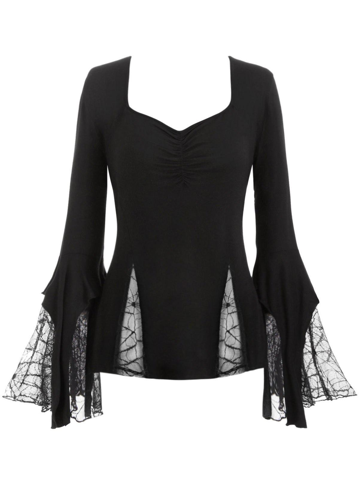 Hot Plus Size Flare Sleeve Spider Web Lace Gothic Halloween T-shirt