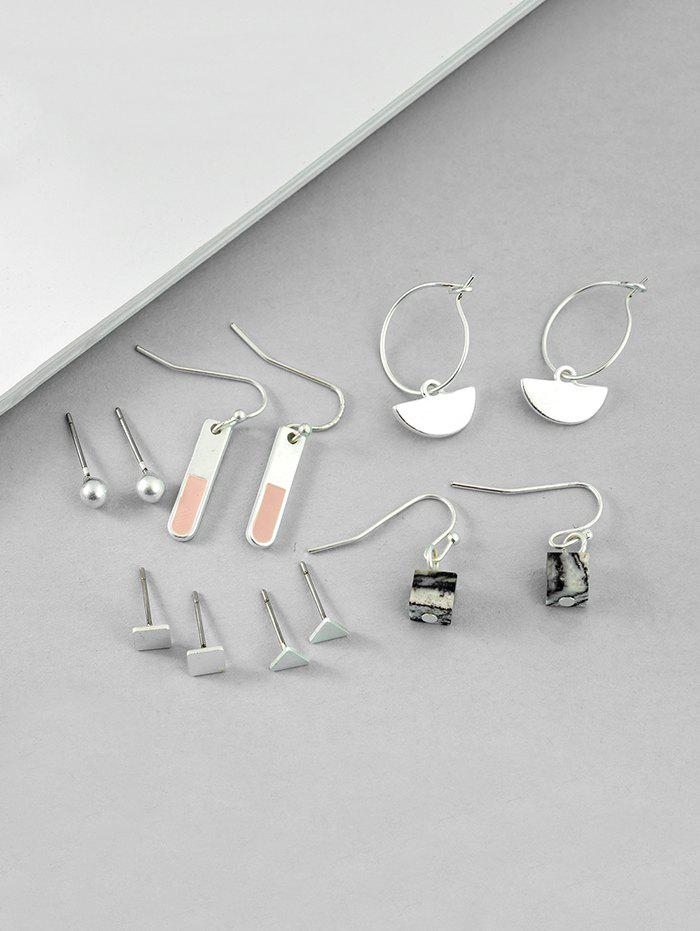 New 6Pairs Geometric Brief Stone Earrings Set