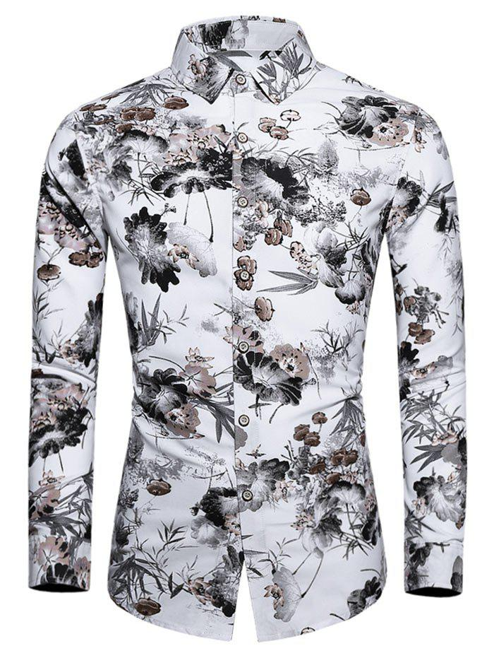 Online Plus Size Flower Ink Painting Print Button Up Shirt