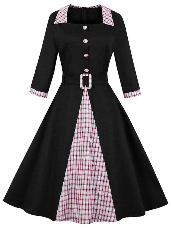 Buy Vintage Plaid Print Mock Button Knee Length Belted Dress