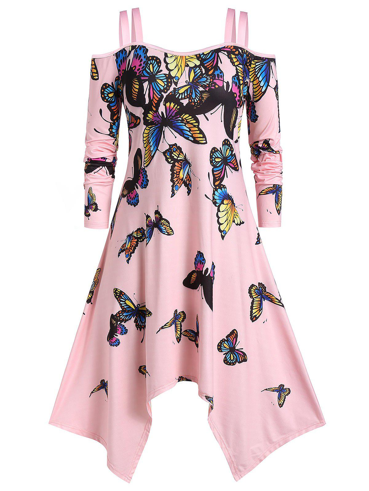 Sale Plus Size Handkerchief Open Shoulder Butterfly Print Dress