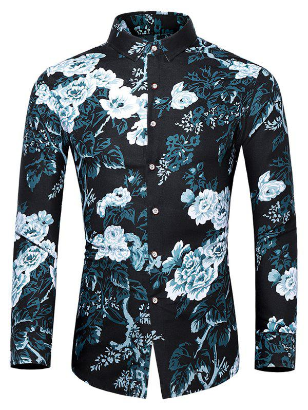 Online Plus Size Flower and Leaves Print Button Up Shirt