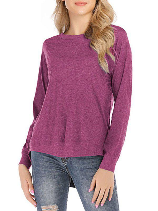 Affordable Solid Round Neck High Low Tee