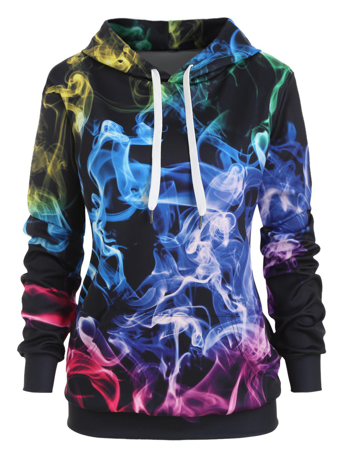 New 3D Smock Print Front Pocket Loose Hoodie
