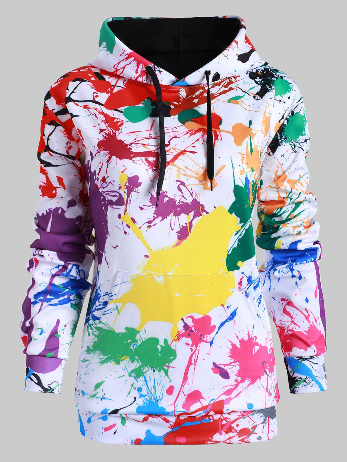 Online Drawstring Front Pocket Rainbow Paint Splatter Plus Size Hoodie