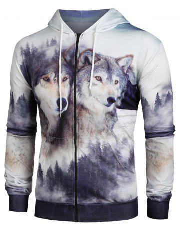 Double Wolf Print Zip Up Pockets Hoodie