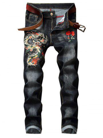 Dragon Flower Pattern Embroidered Zip Fly Jeans
