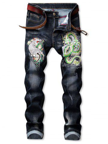 Tiger Dragon Pattern Embroidered Zip Fly Jeans