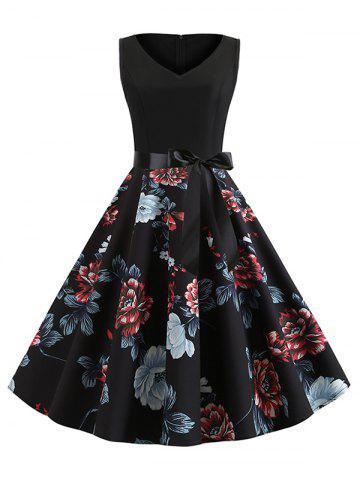 Floral Print Belted Sleeveless A Line Dress