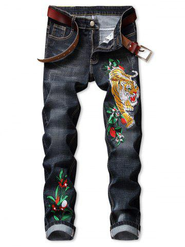 Tiger Flower Pattern Embroidered Zip Fly Jeans