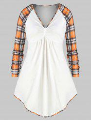 Plus Size Plaid Raglan Sleeve Tunic Top -