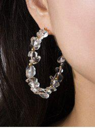 Natural Stone Beaded Open Hoop Earrings -