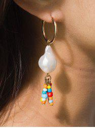 Baroque Pearl Colorful Beaded Pendant Earrings -
