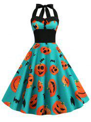 Pumpkin Ghost Buttons Halloween Halter Dress -