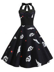 Ghost Pumpkin Halloween Halter Flare Dress -