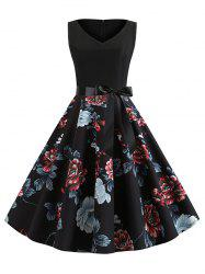 Floral Print Belted Sleeveless A Line Dress -