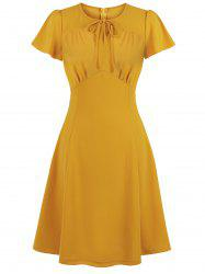 Solid Back Zipper Tie Collar Ruched Plus Size Dress -