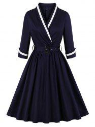 Back Zipper Belted Surplice Plus Size Vintage Dress -