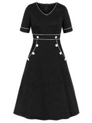 Contrast V Neck Mock Button Pockets Plus Size Dress -