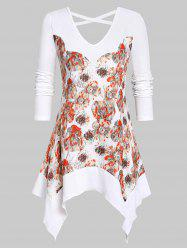 Plus Size Handkerchief Criss Cross Floral T Shirt -