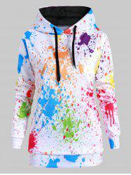 Drawstring Front Pocket Rainbow Paint Splatter Plus Size Hoodie -