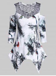 Asymmetrical Open Shoulder Bird Print T Shirt -