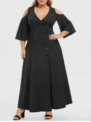 Plus Size Plunge Double Breasted Cold Shoulder Maxi Dress -