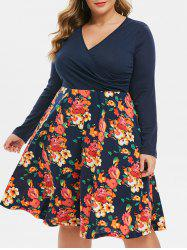 Long Sleeve Seam Pockets Floral Surplice Plus Size Dress -