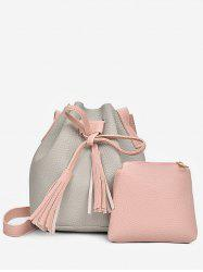 2 in 1 Faux Leather Two Tone Bucket Bag -