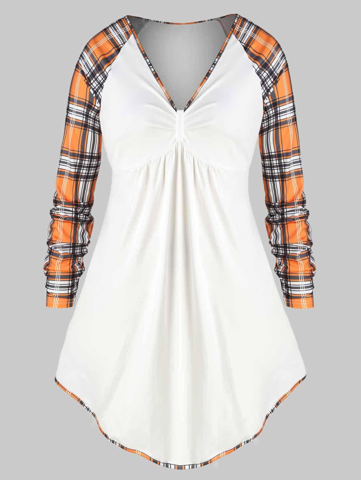 Shop Plus Size Plaid Raglan Sleeve Tunic Top