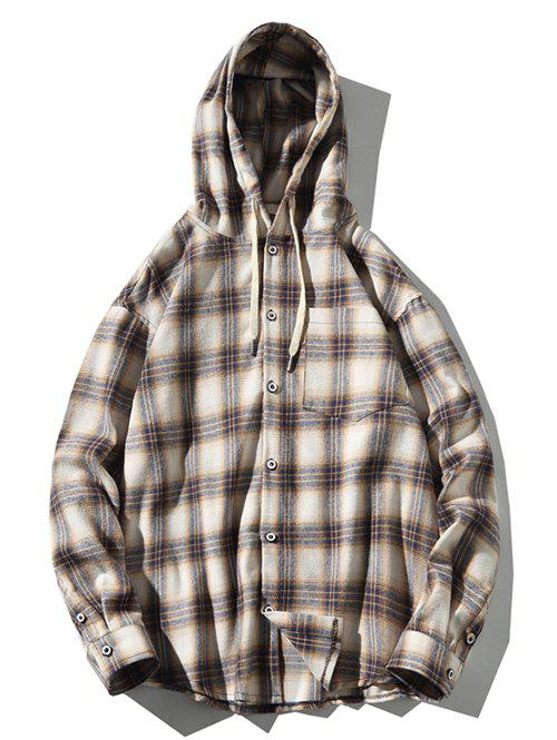 Outfits Plus Size Hooded Plaid Print Button Up Pocket Shirt