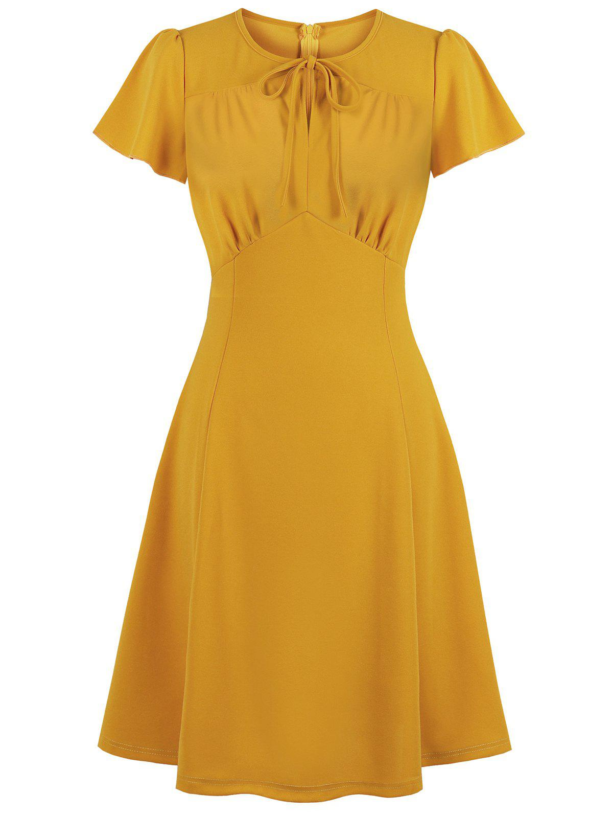 Buy Solid Back Zipper Tie Collar Ruched Plus Size Dress