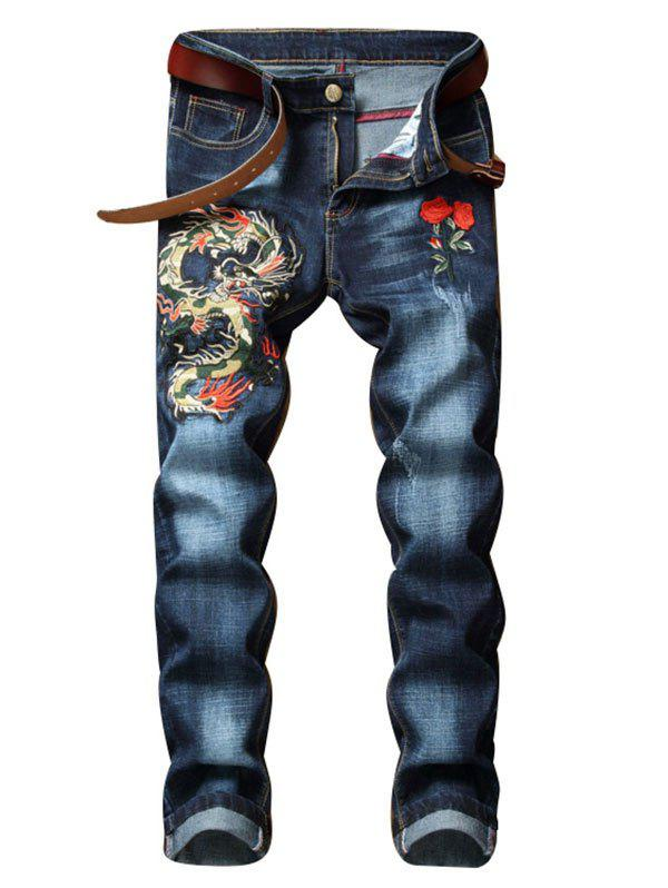 Sale Dragon Flower Pattern Embroidered Zip Fly Jeans