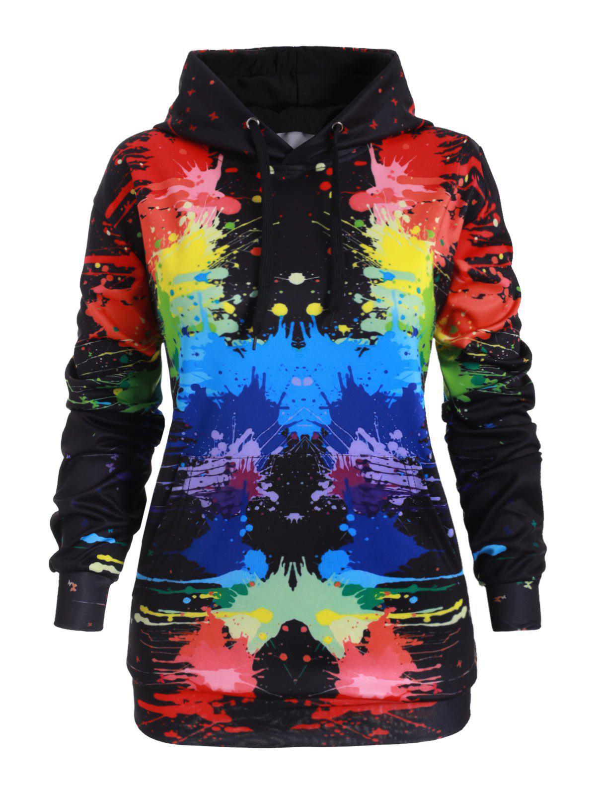 Outfit Drawstring Front Pocket Rainbow Paint Splatter Plus Size Hoodie