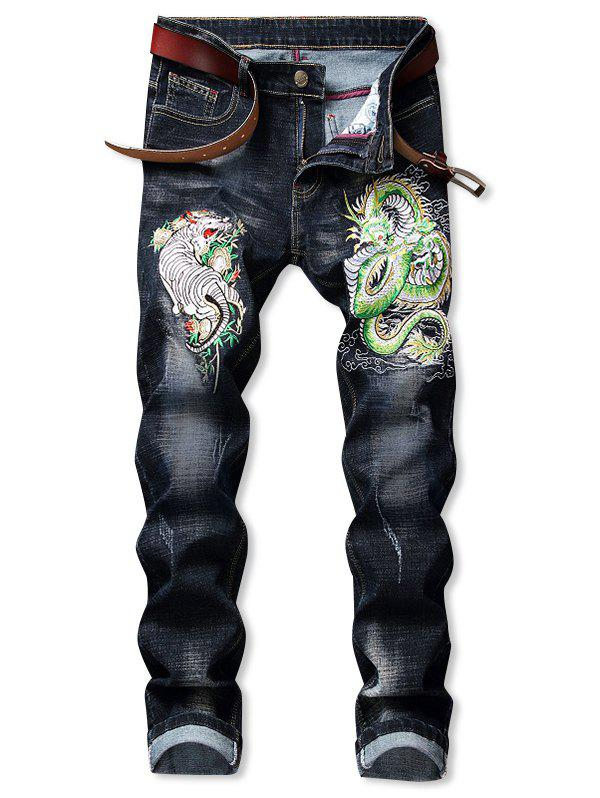 Online Tiger Dragon Pattern Embroidered Zip Fly Jeans