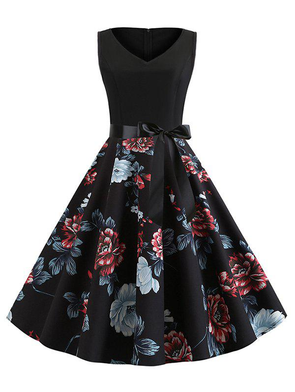 Discount Floral Print Belted Sleeveless A Line Dress
