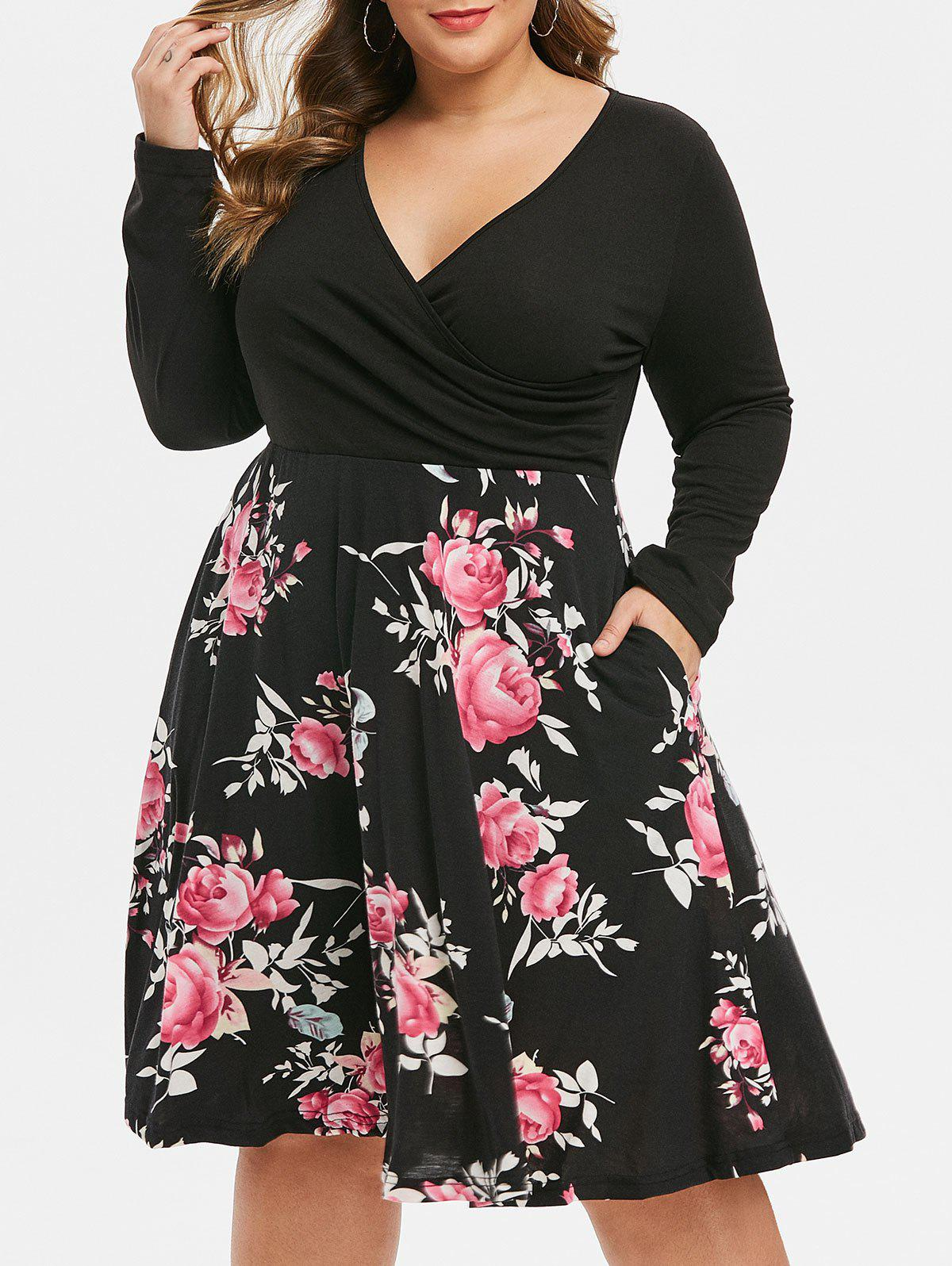 Outfits Long Sleeve Seam Pockets Floral Surplice Plus Size Dress
