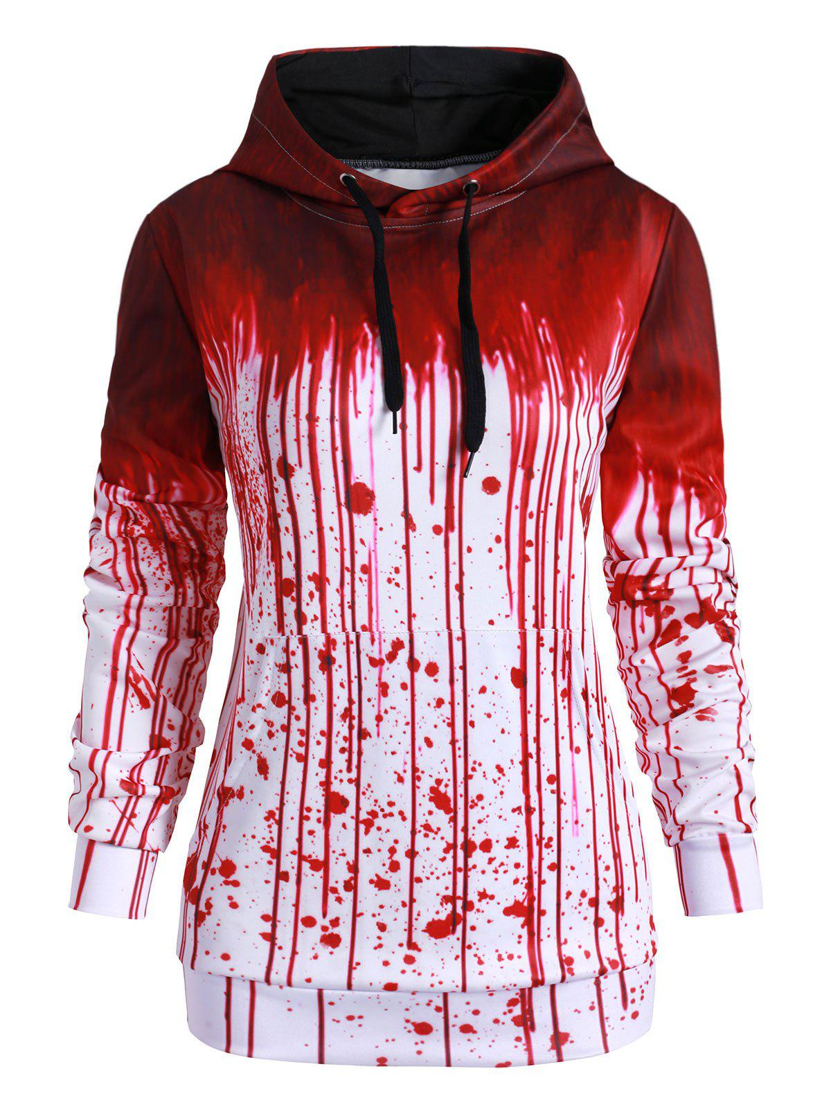 Latest Front Pocket Paint Splatter Blood Halloween Plus Size Hoodie