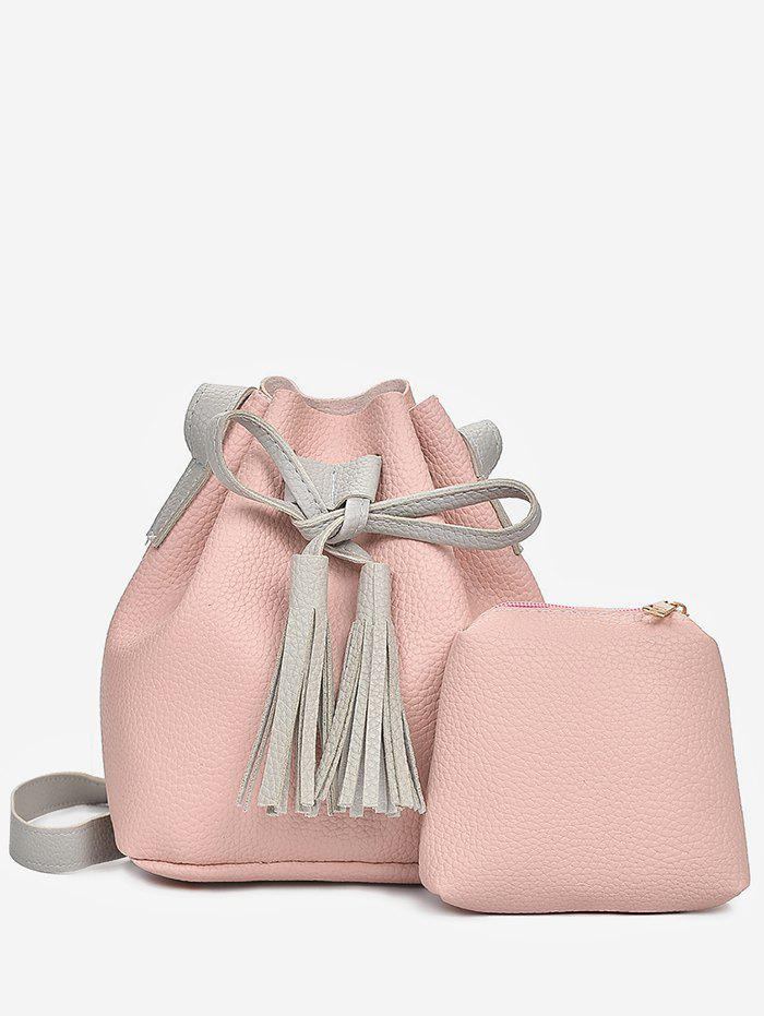 New 2 in 1 Faux Leather Two Tone Bucket Bag