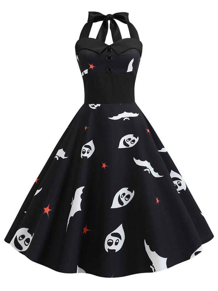 Online Ghost Pumpkin Halloween Halter Flare Dress
