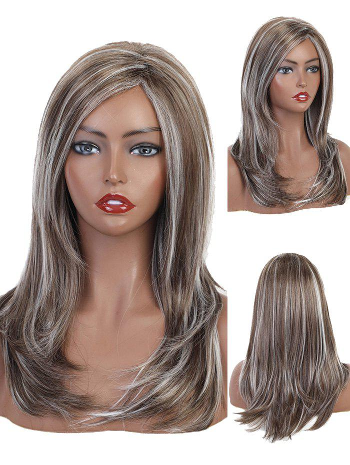 Store Side Part Natural Mixed Layer Long Curly Synthetic Wig