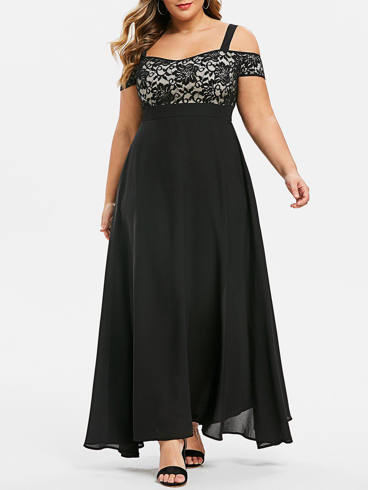 Affordable Plus Size Open Shoulder Lace Insert Evening Maxi Dress